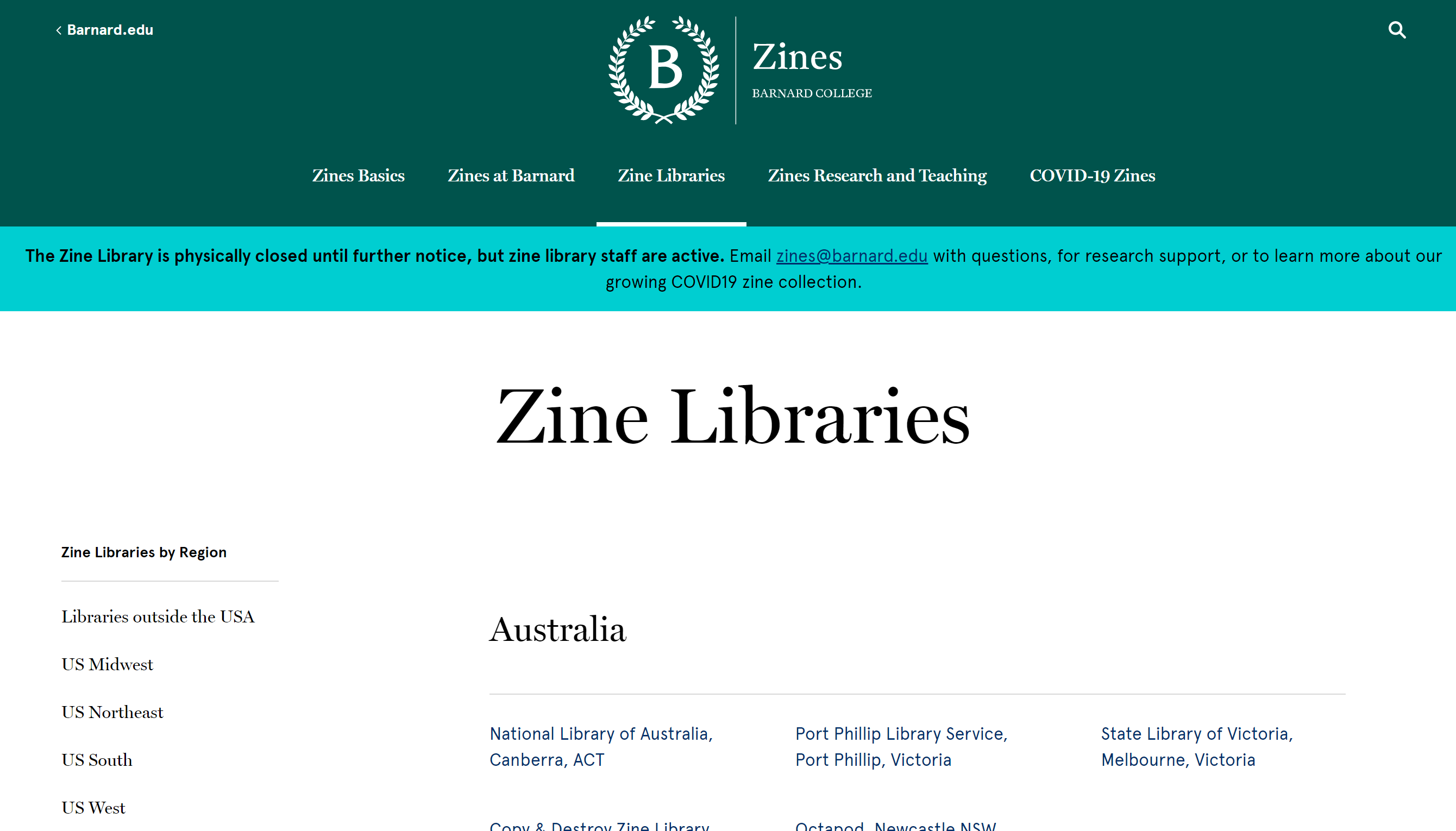 screenshot of their zine library directory webpage