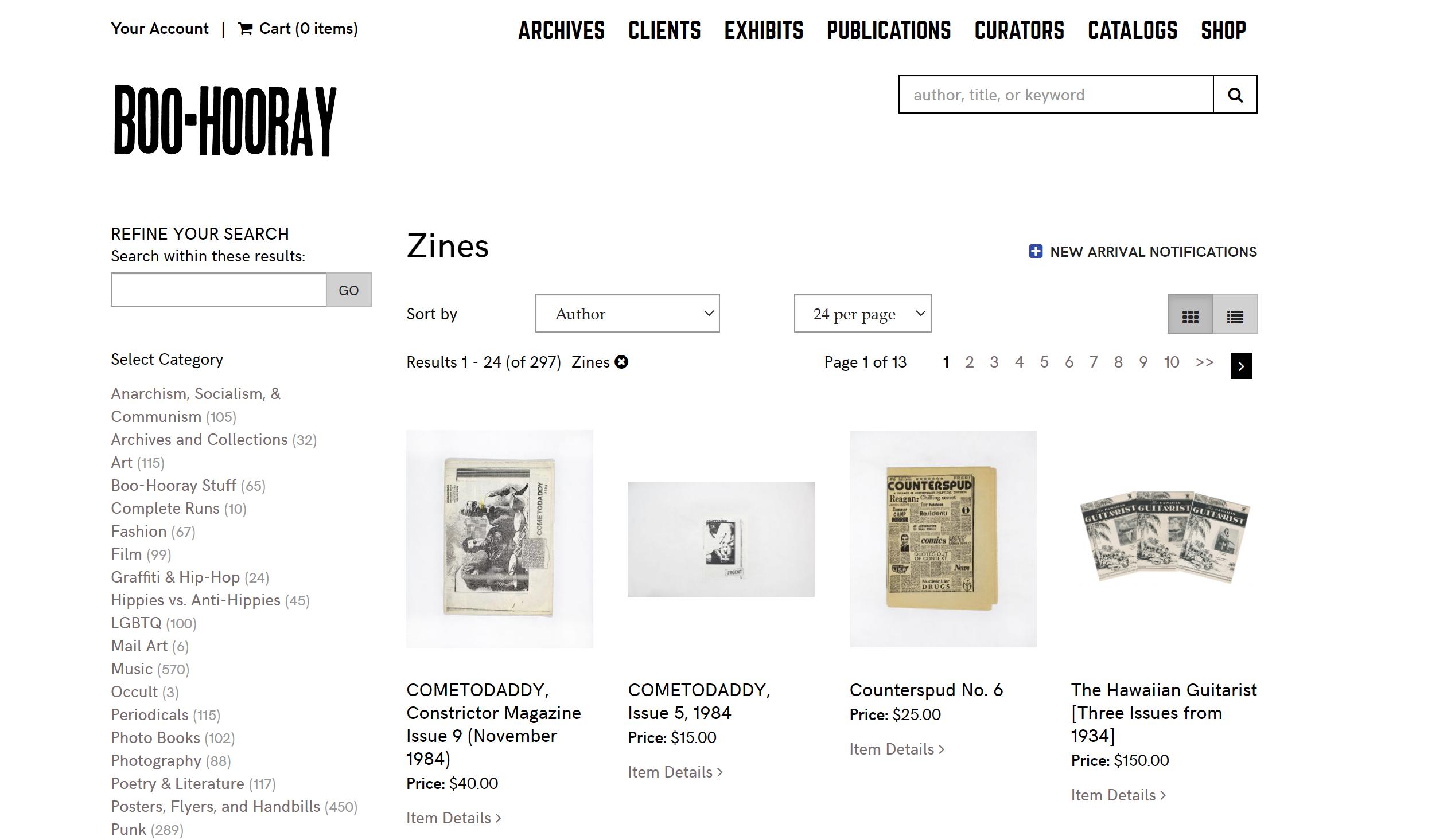 screenshot of Boo-Hooray's online shop for zines