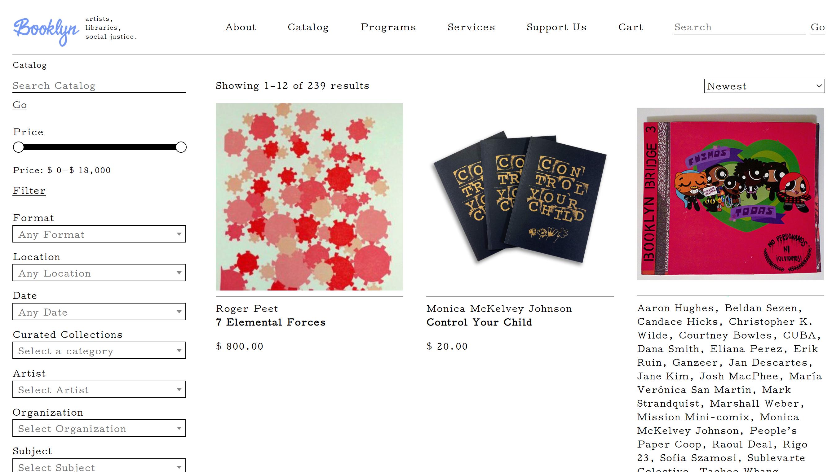 A screenshot of Booklyn's catalog