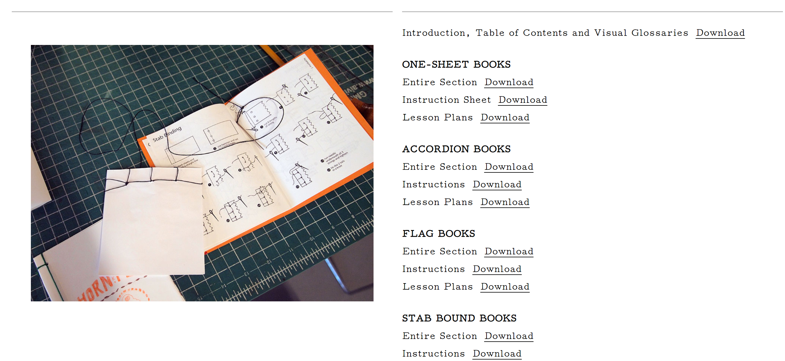 A screenshot of Booklyn's Education Manual which is a page with downloadable instructions for making various kinds of books