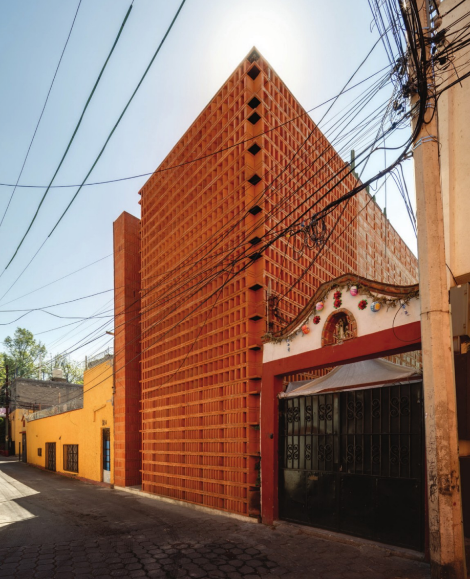 The front of a brick building