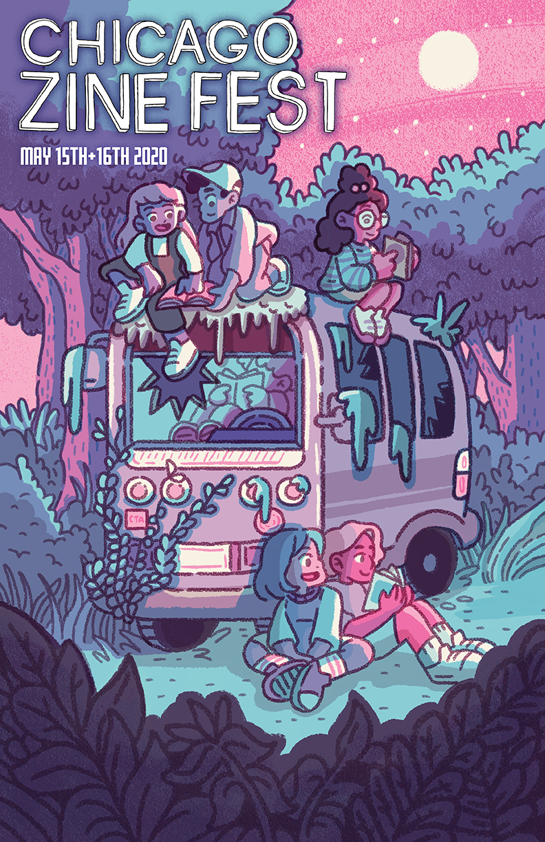 Chicago Zine Festival poster for 2020 illustrated by Amanda Bell