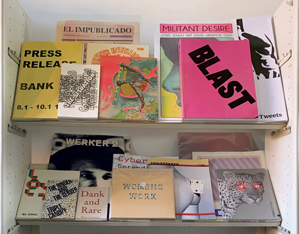 two shelves of artists' books