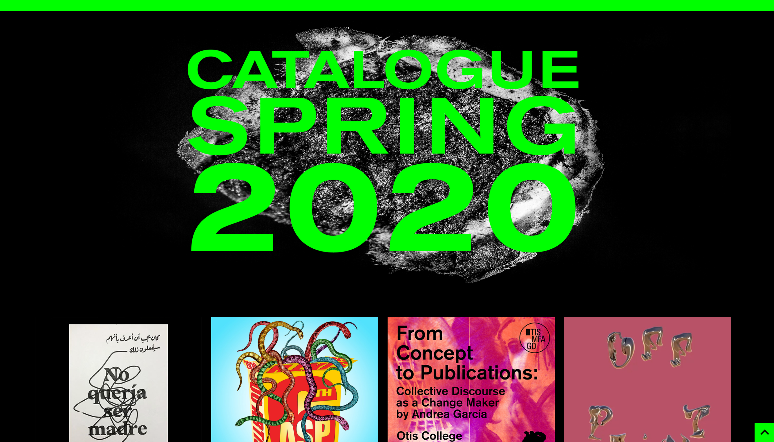 screenshot of their website showing the beginning of their catalog for 2020