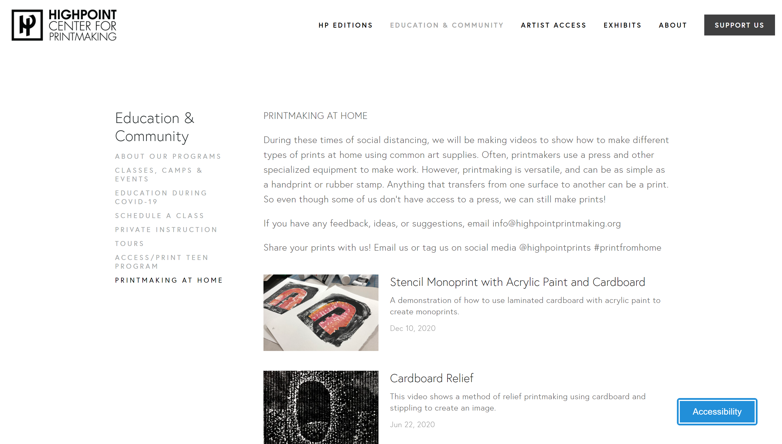 screenshot of Highpoint's webpage of their videos on printmaking at home