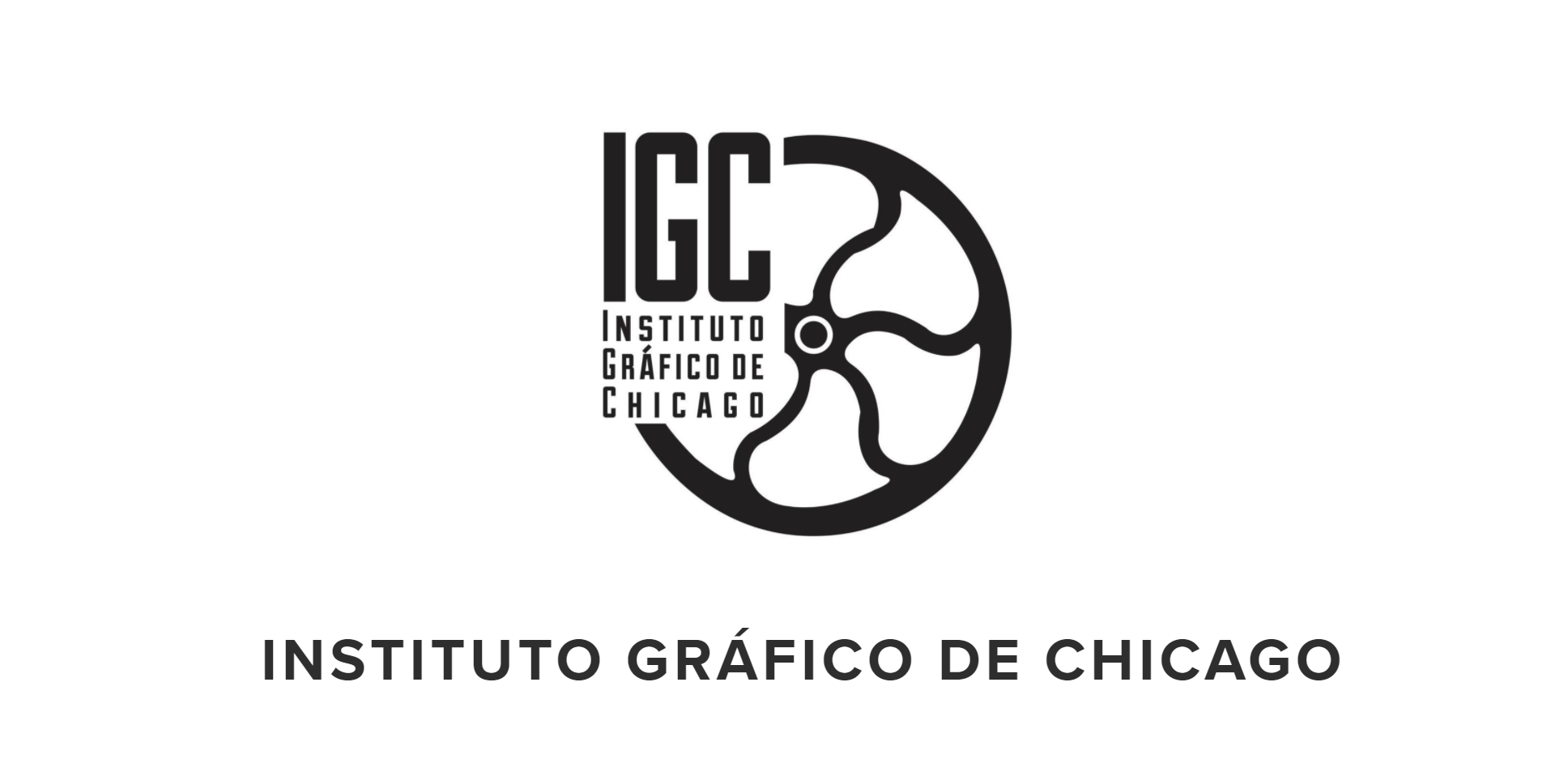 The IGC's logo that has a press wheel integrated into the text