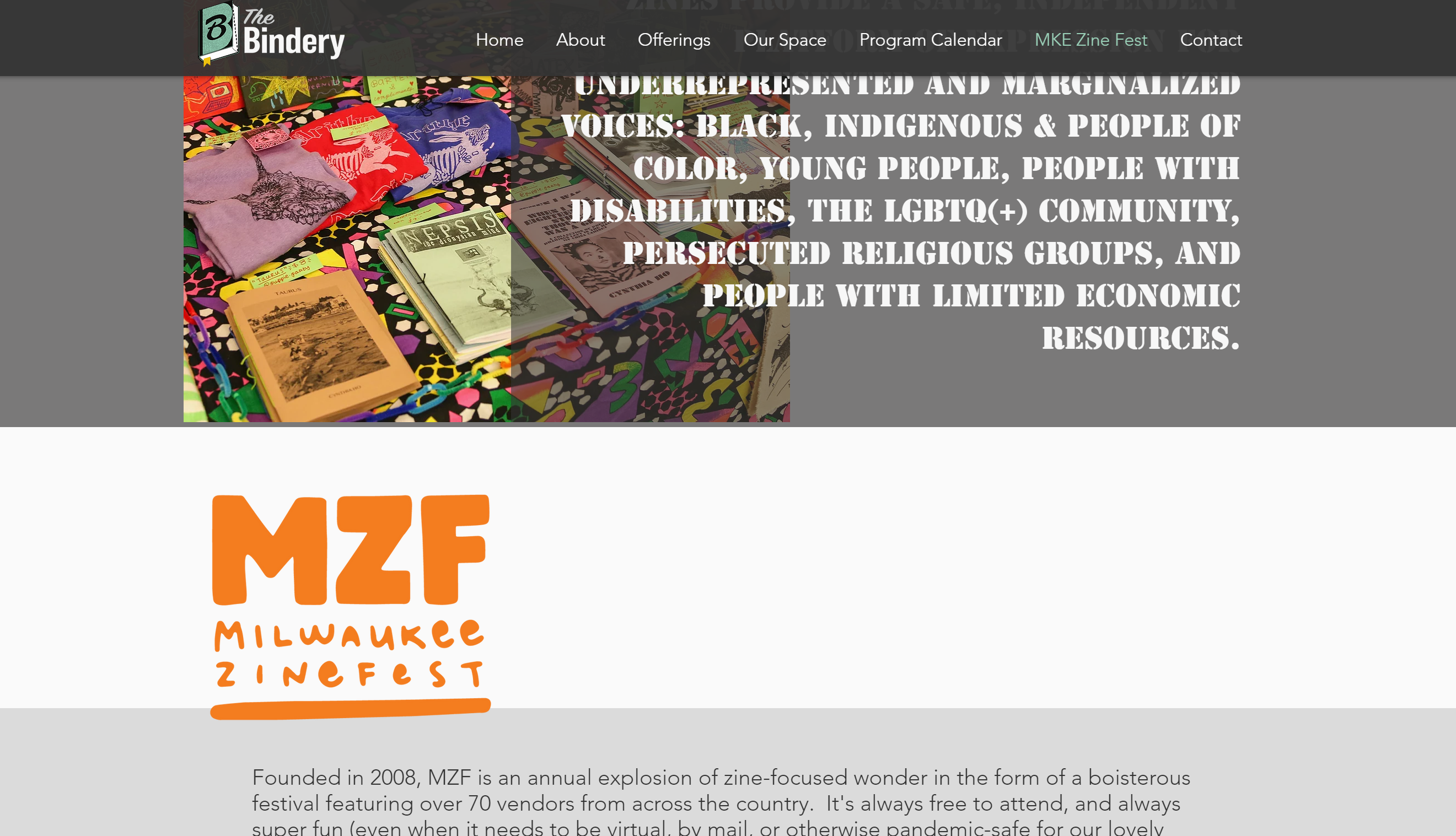 A screenshot of the Milwaukee Zine Fest's About section on their official page