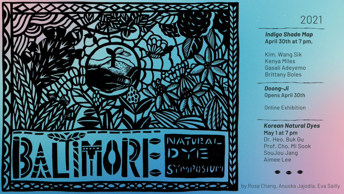 Poster for the Baltimore Natural Dye Symposium 2021