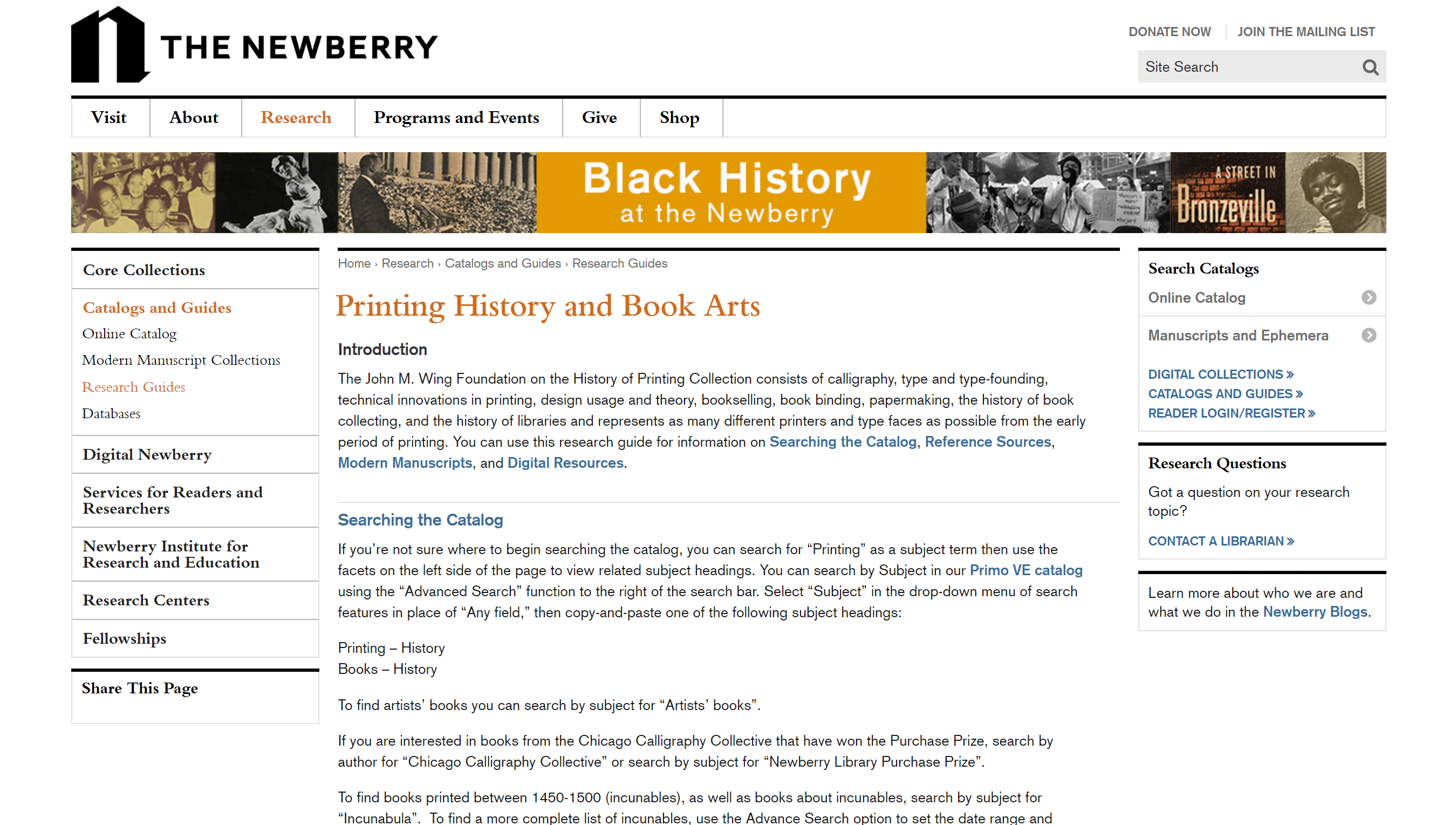 webpage screenshot of their research guide on printing history and book arts