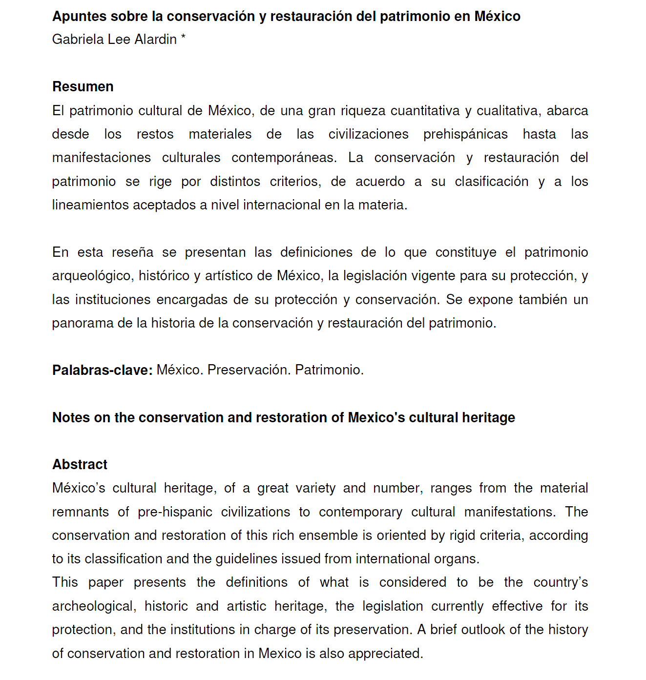 screenshot of the abstract page showing that it is written in both English and Spanish