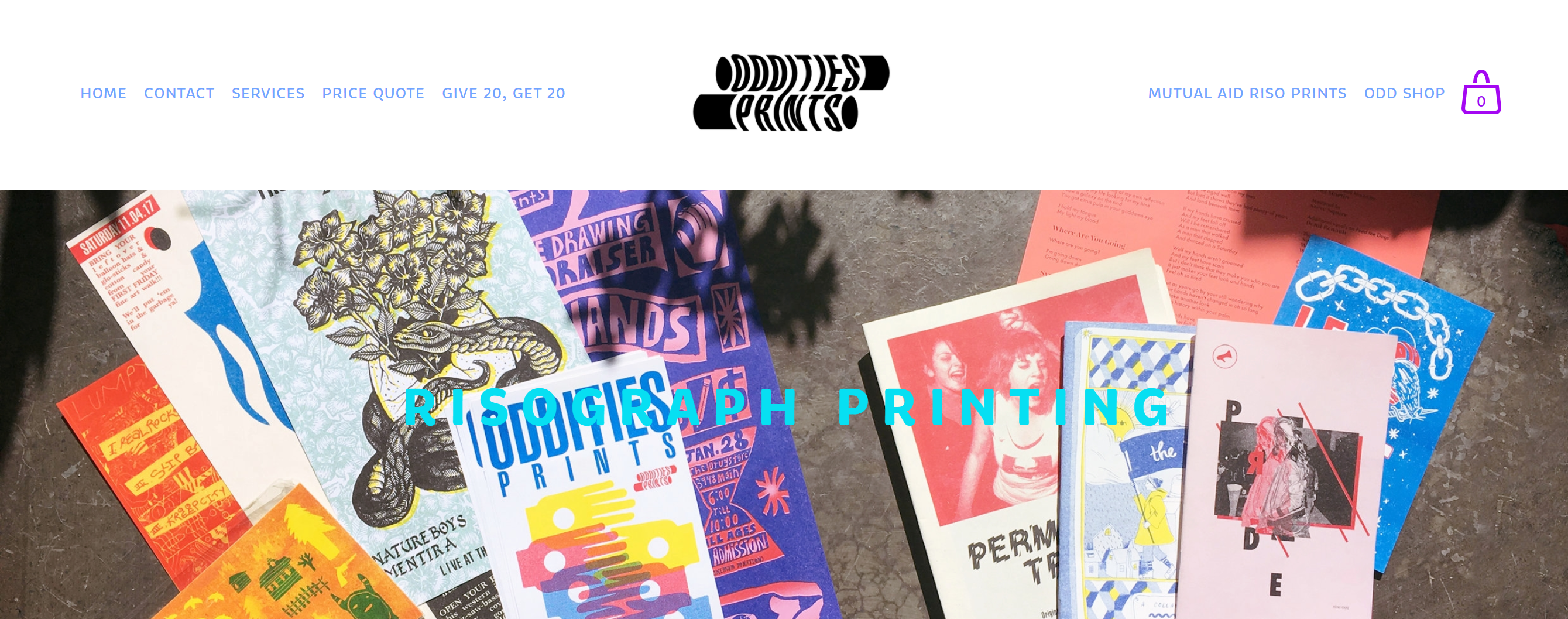 Oddities Prints' risography print services webpage