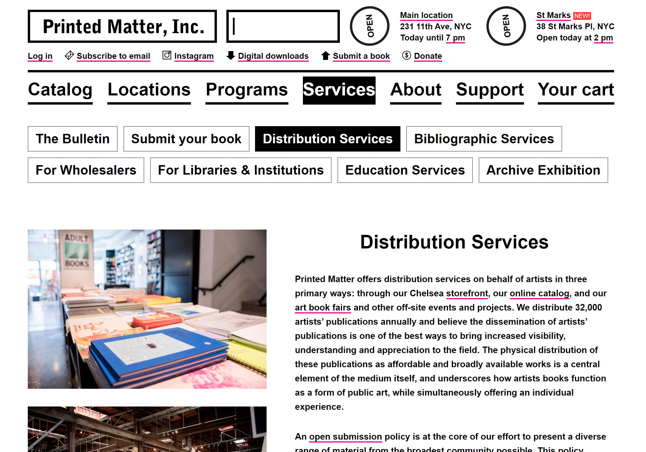 Printed Matter's distribution services page