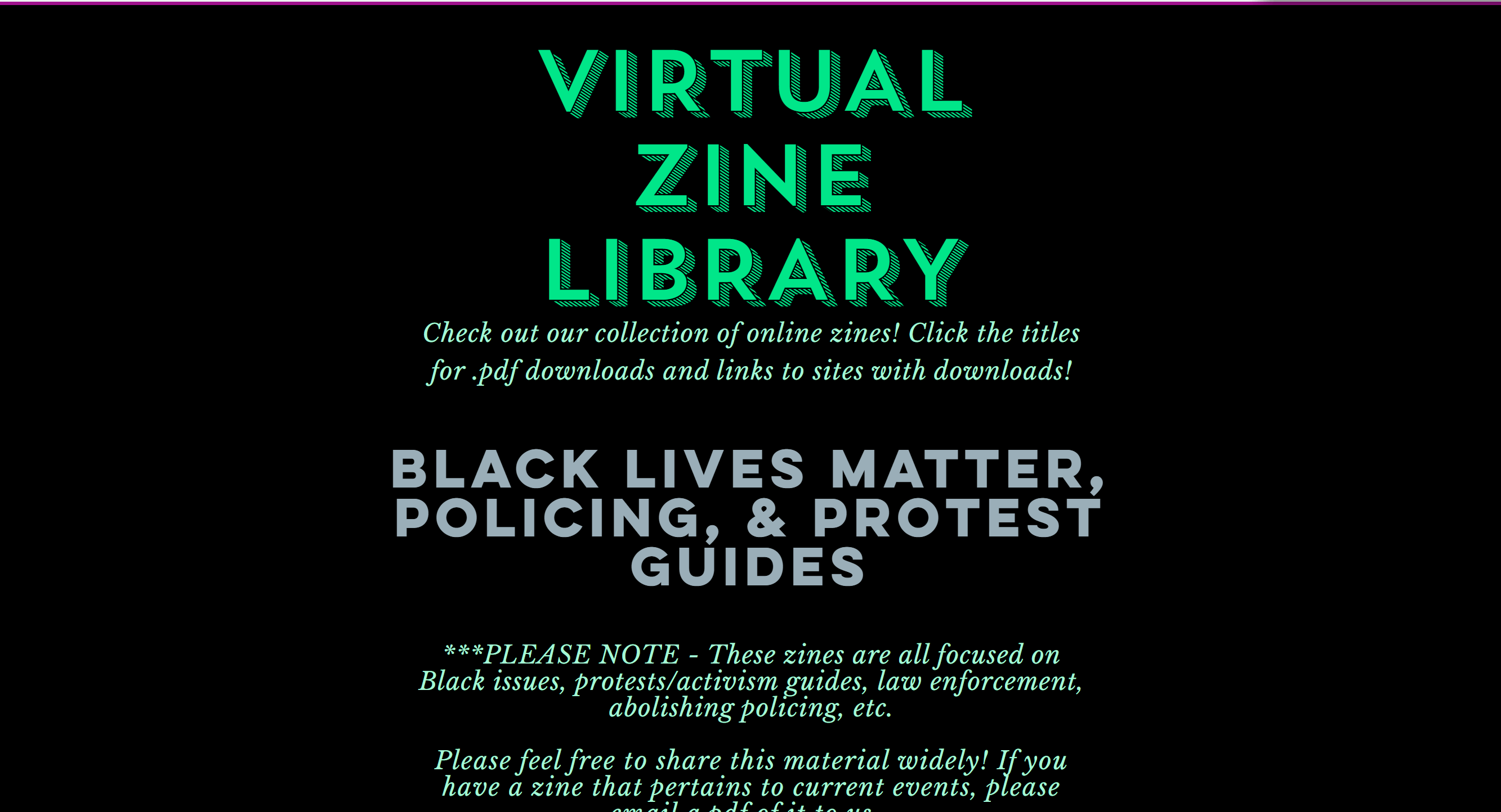 Homepage of the Sherwood Forest Virtual Zine Library