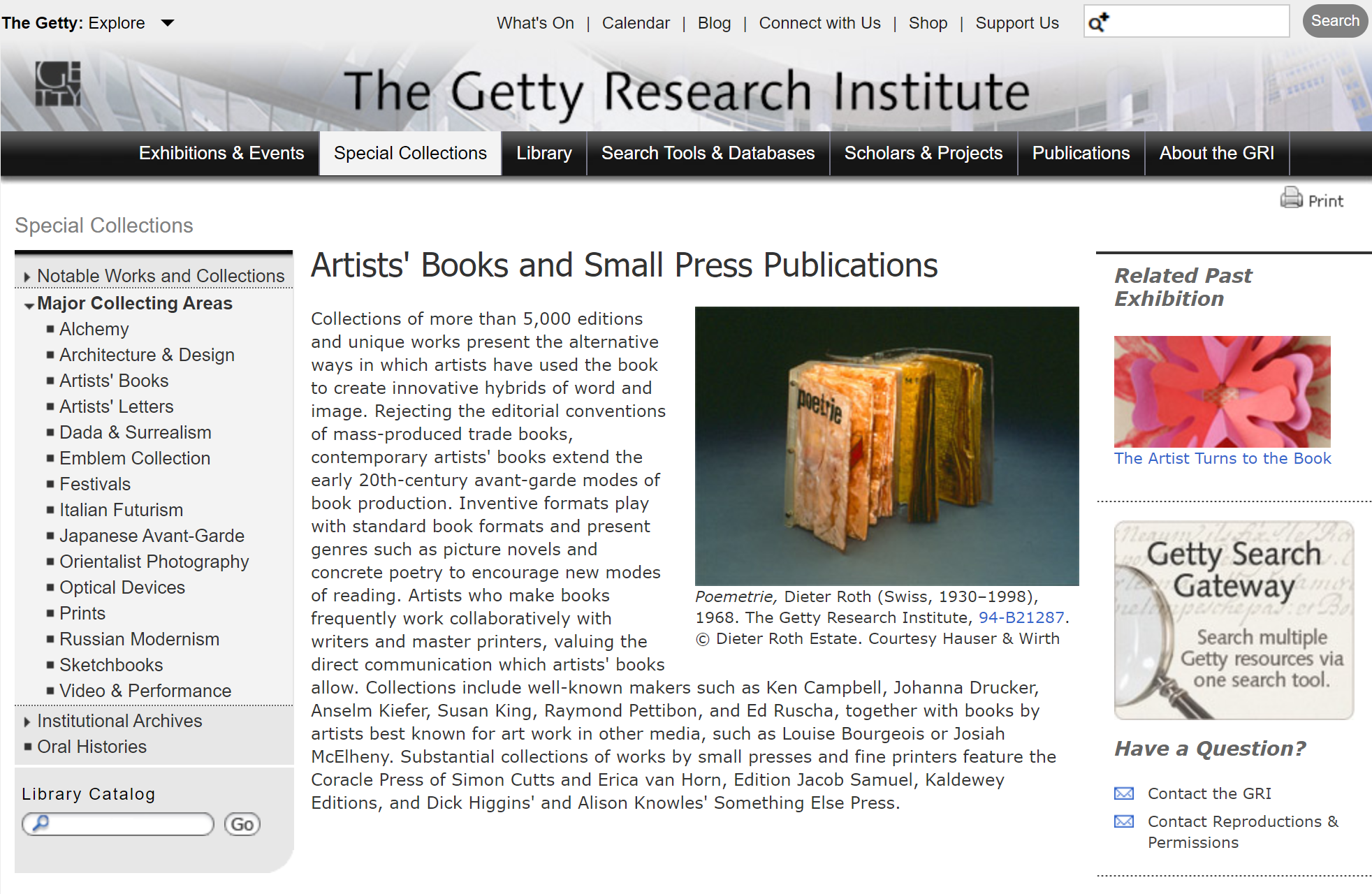 the getty's webpage on their artists' books