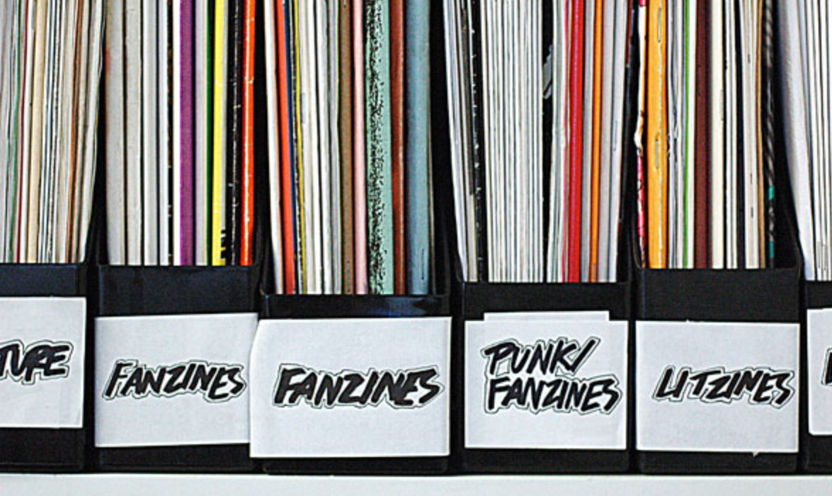 many colorful booklet spines along a shelf