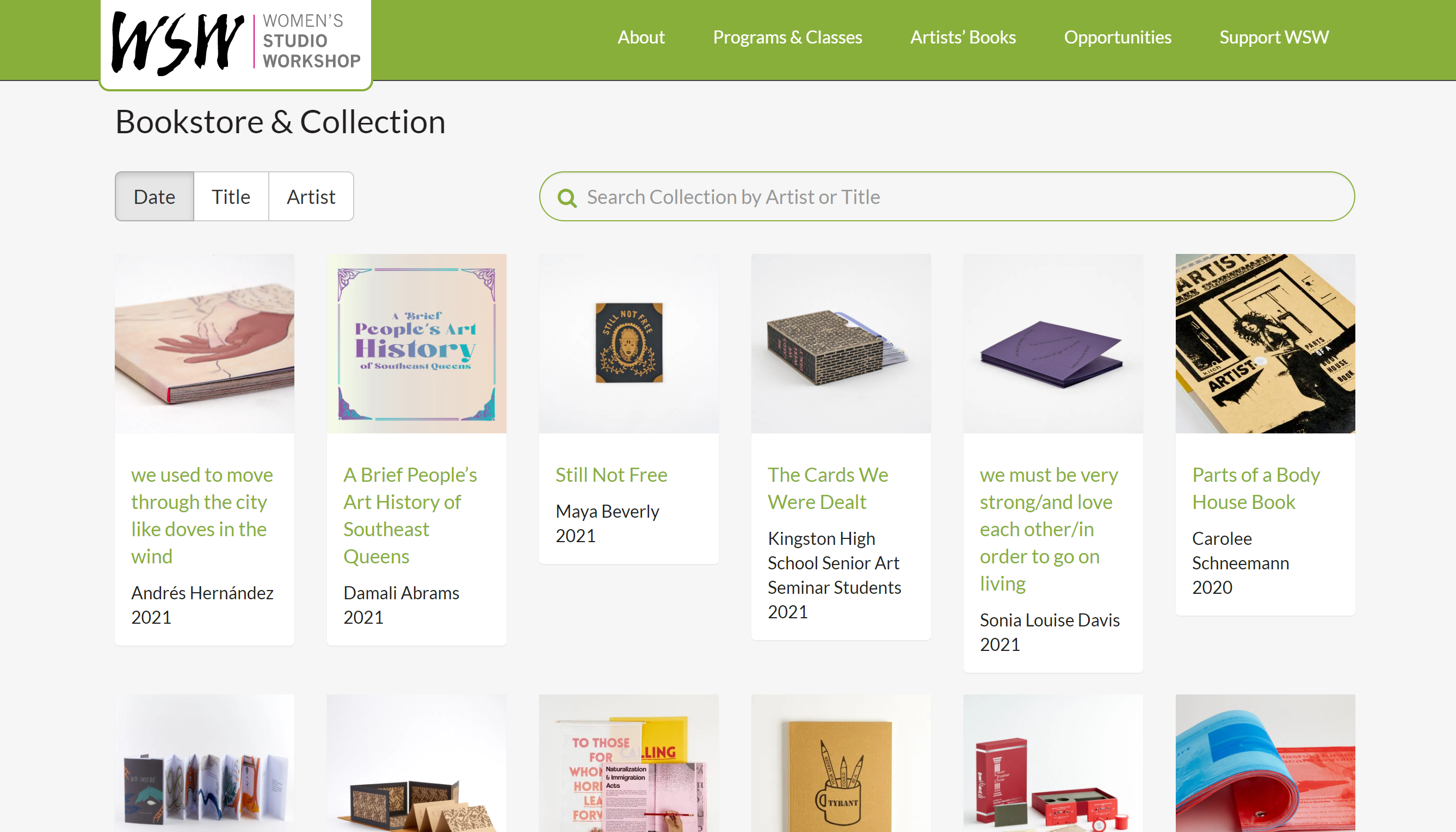 A screenshot of the Women's Studio Workshop bookstore and collection of artists' books