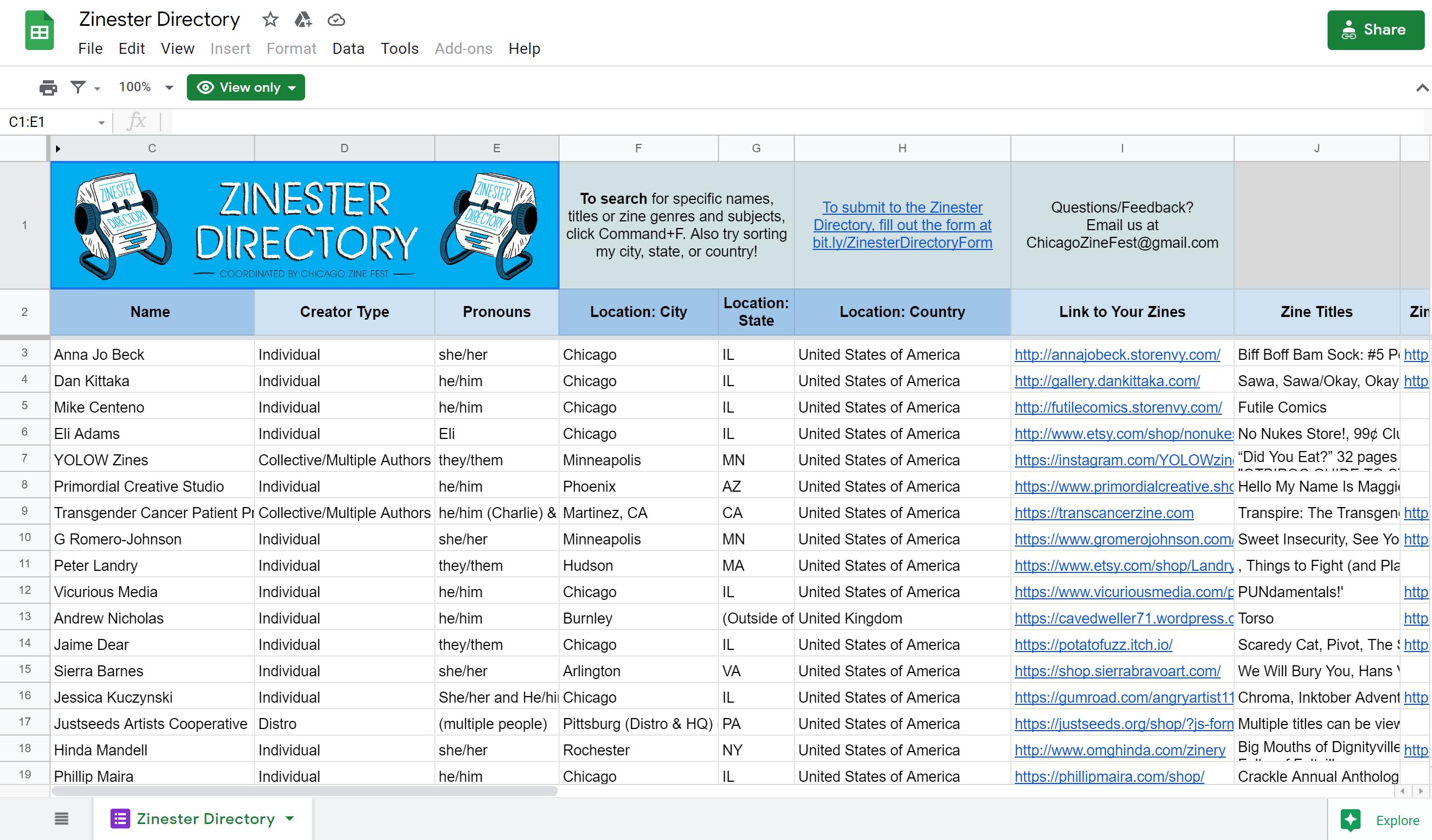 screenshot of the google spreadsheet