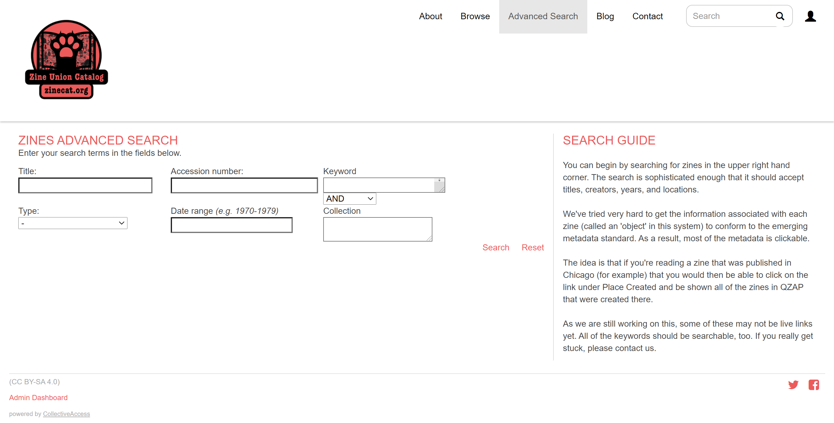 screenshot of their advanced search webpage