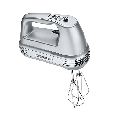 adjustable speed hand mixer with removable beaters, chef's whisk, and dough hooks