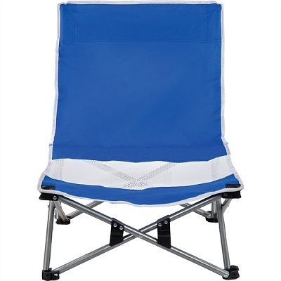 Foldable blue chair that shits close to the ground