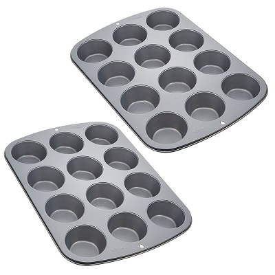 Two silver pans with 12 holes each