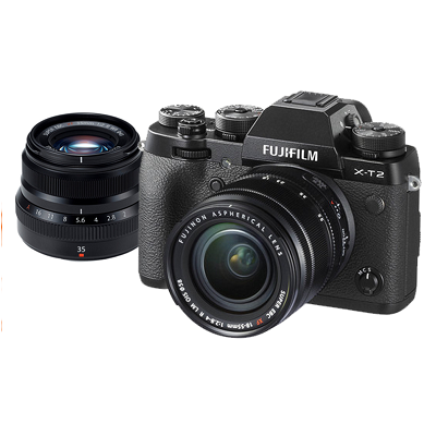 Fujifilm X-T2 mirrorless camera iwth 18-55mm lens and 35mm lens