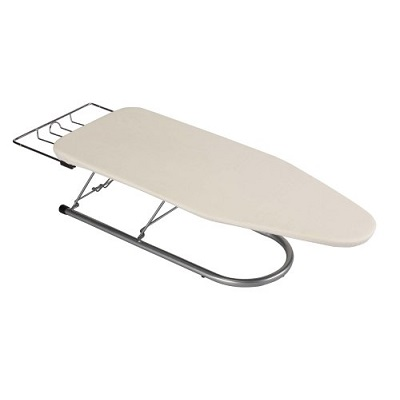 metal frame ironing board with cloth protective covering. Can sit flat for be raised up