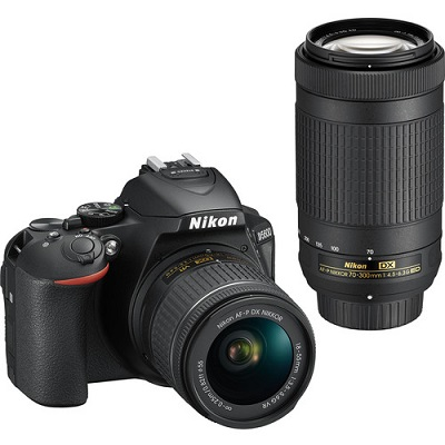 Nikon D5600 digital camera with 70-300mm lens and 18-55mm lens