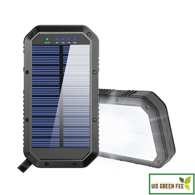 Solar battery pack with indicator and flashlight