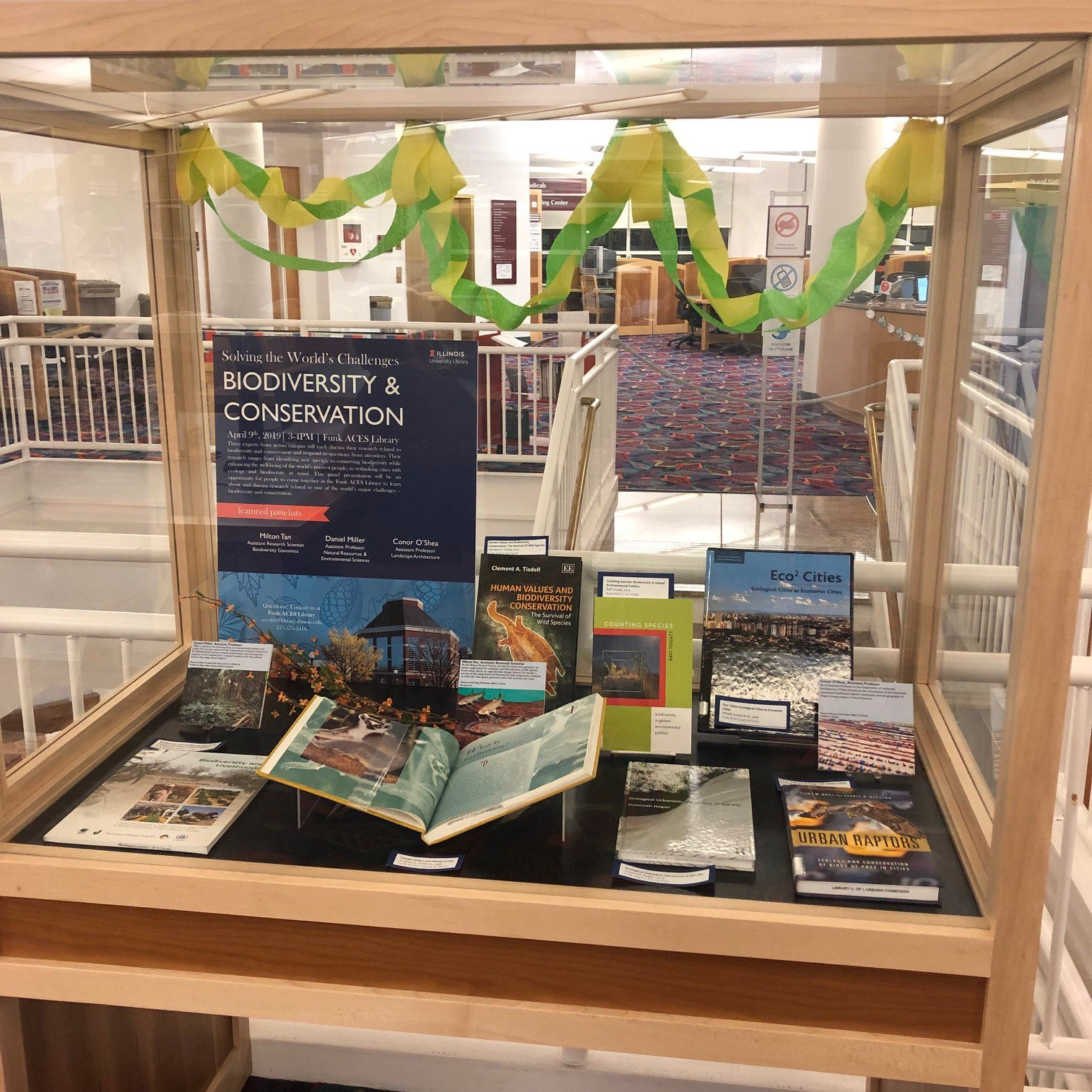 photograph of book display on biodiversity and conservation in Funk Library