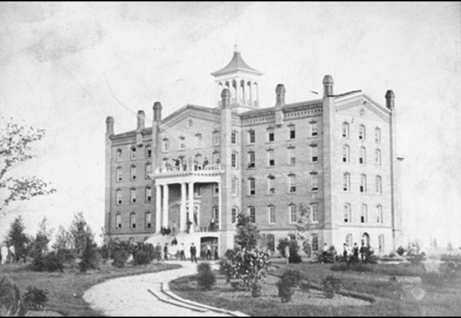 Photo of the first University Building, black and white