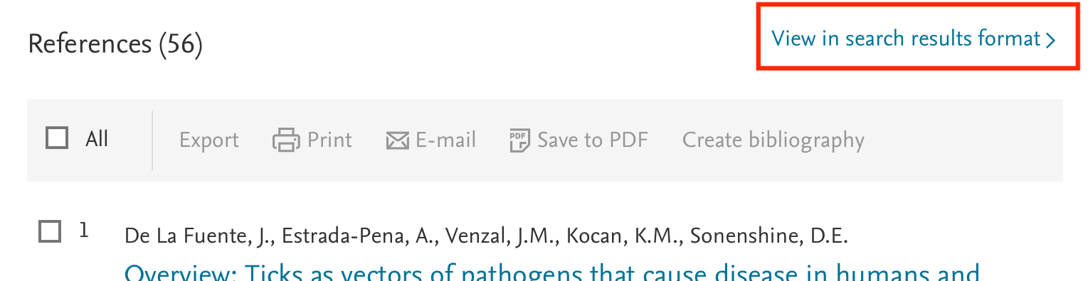 """Image showing reference section of item in Scopus with """"View in search results format"""" link highlighted."""