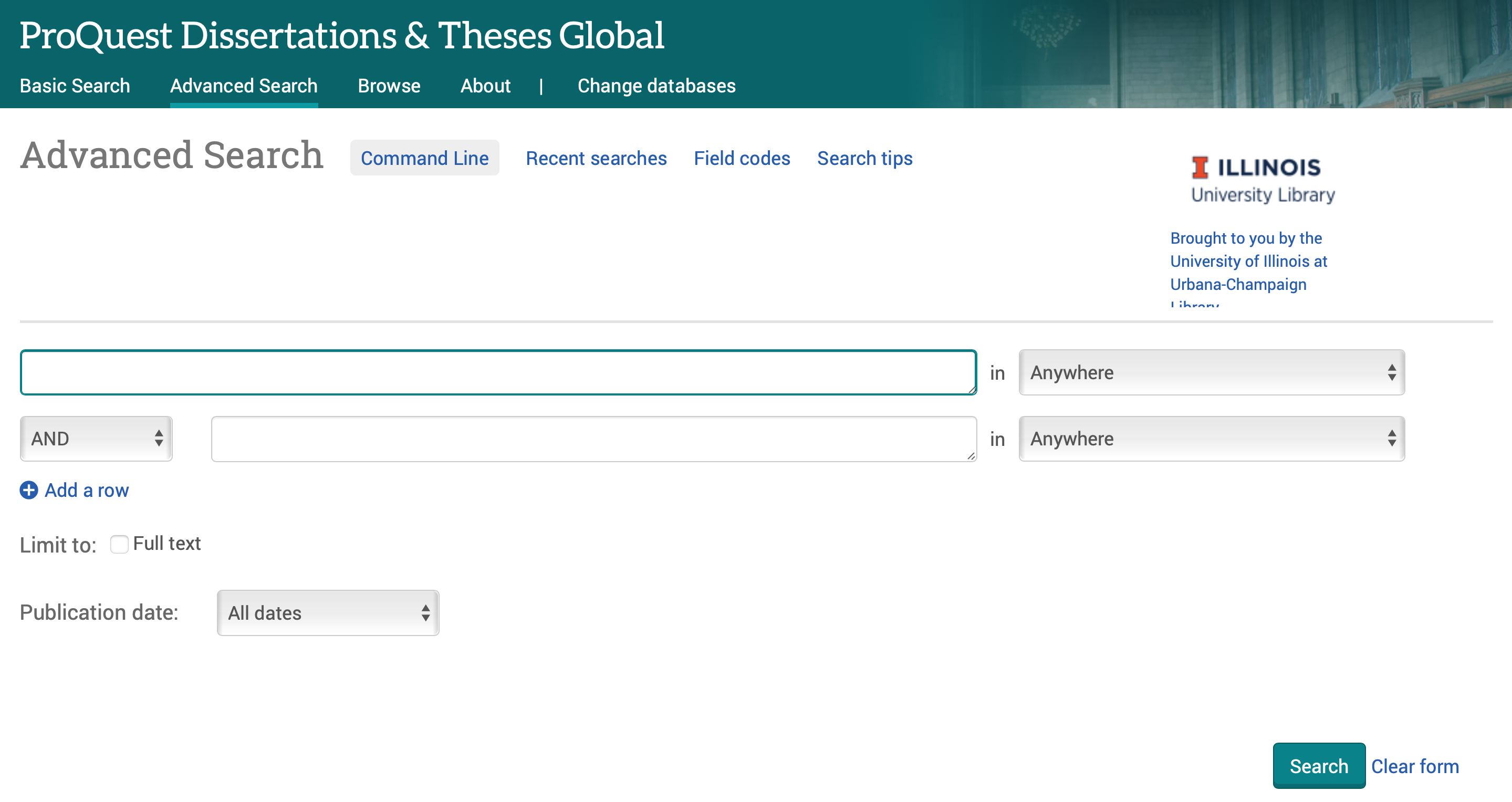 Image showing ProQuest Dissertations & Theses' Advanced Search box.