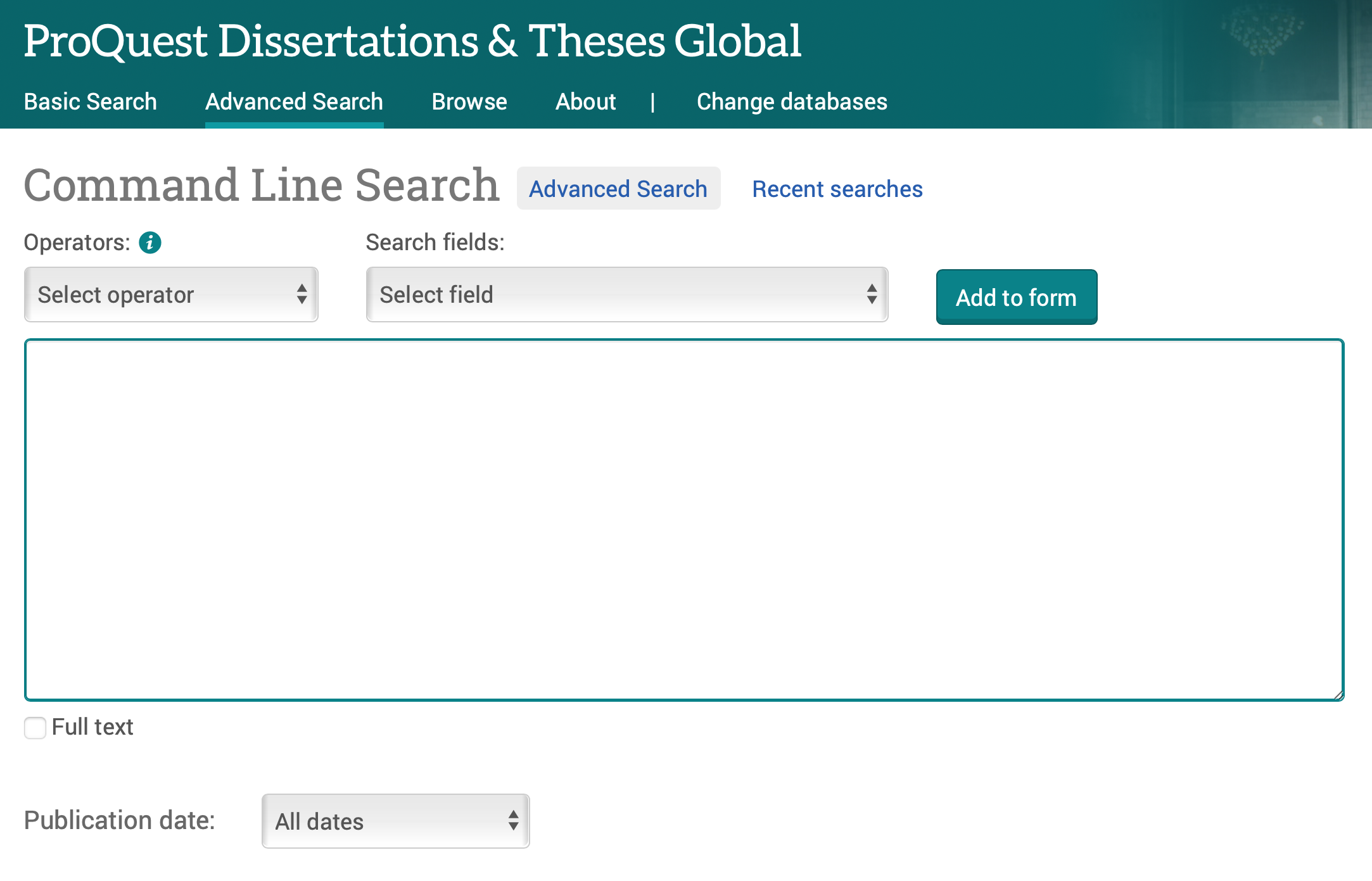 Image showing ProQuest Dissertations & Theses' Command Search box.