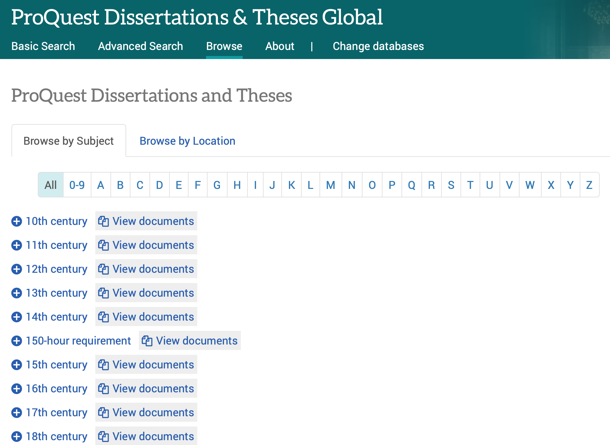 Image showing ProQuest Dissertations & Theses Browse Search screen.