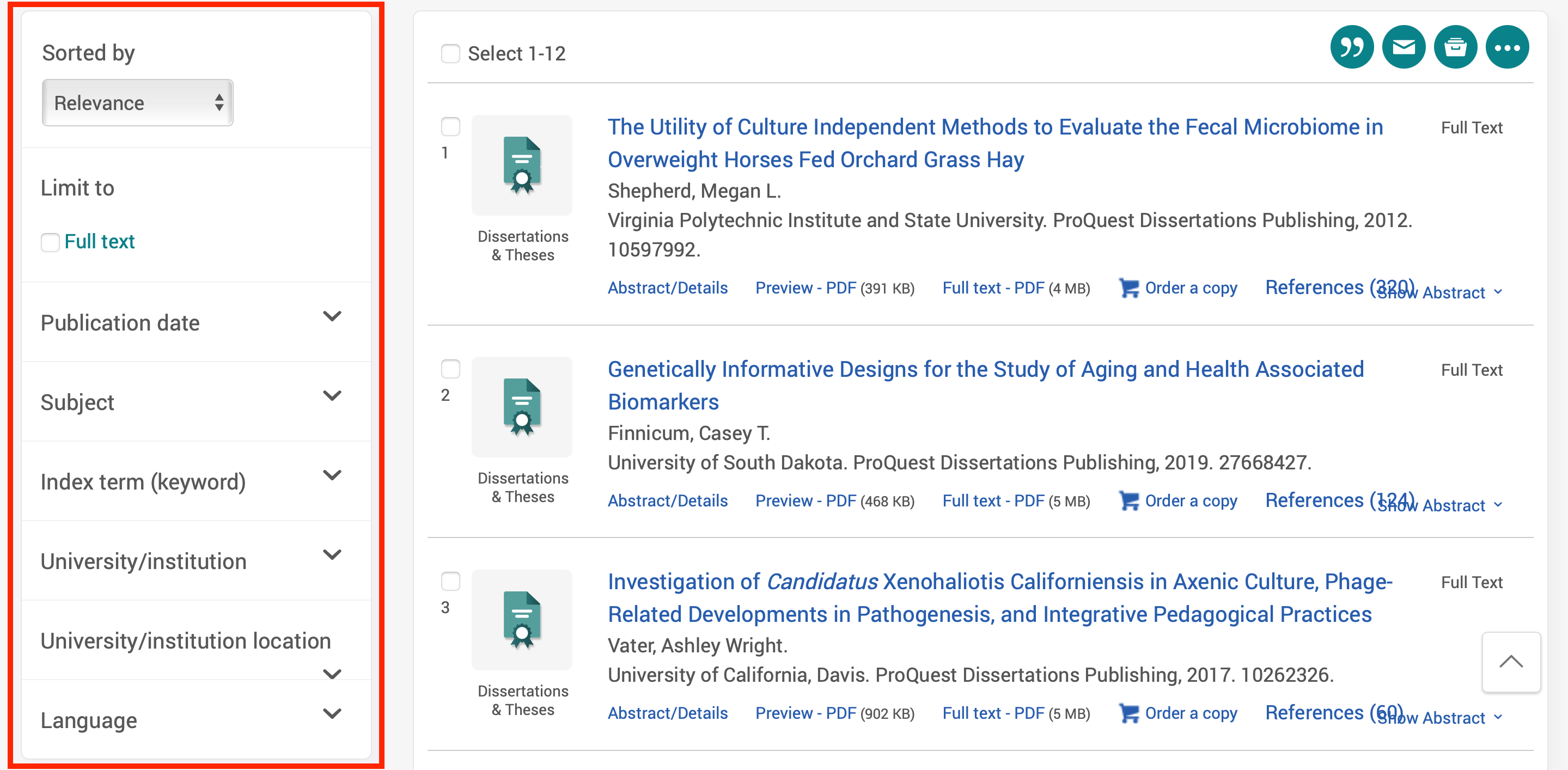 Image showing ProQuest Dissertations & Theses search results page with refine results function highlighted.