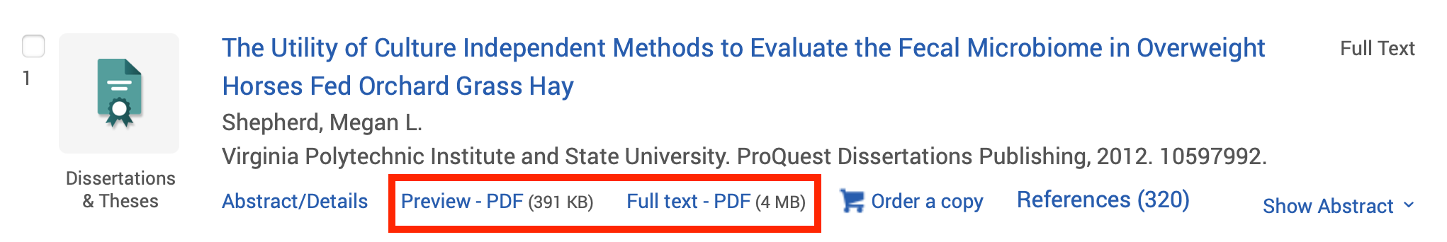 Image showing ProQuest Dissertations & Theses search results page with find full text option highlighted.