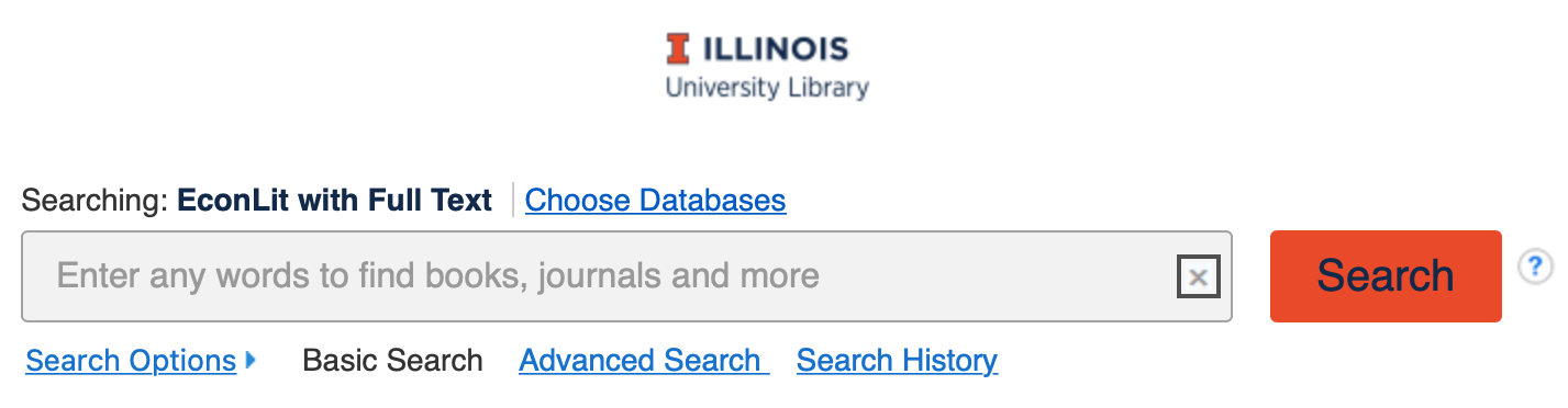 Image showing EconLit's basic search box.