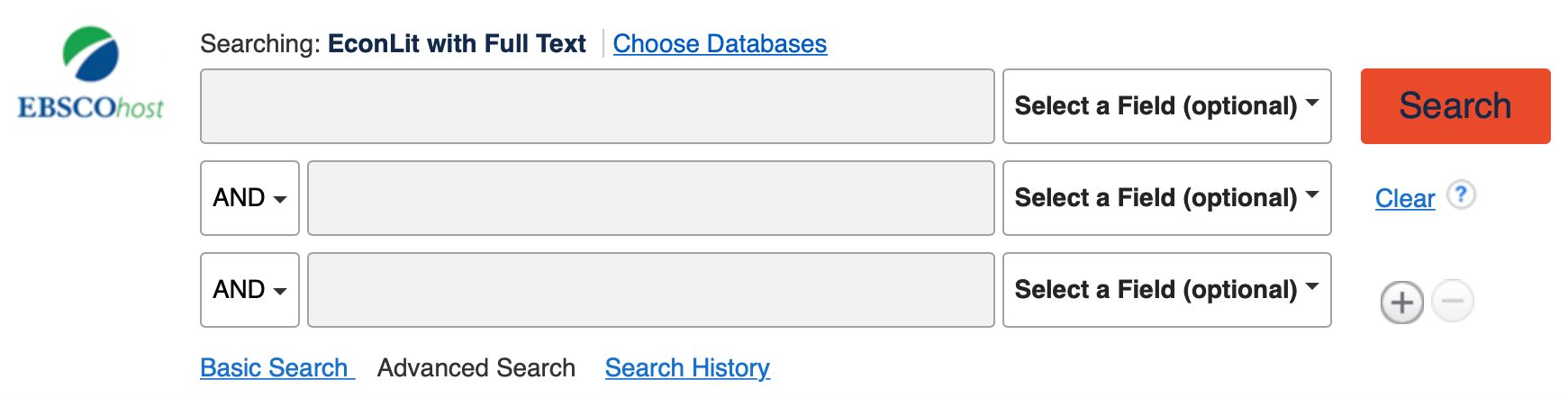 Image showing EconLit's advanced search box.