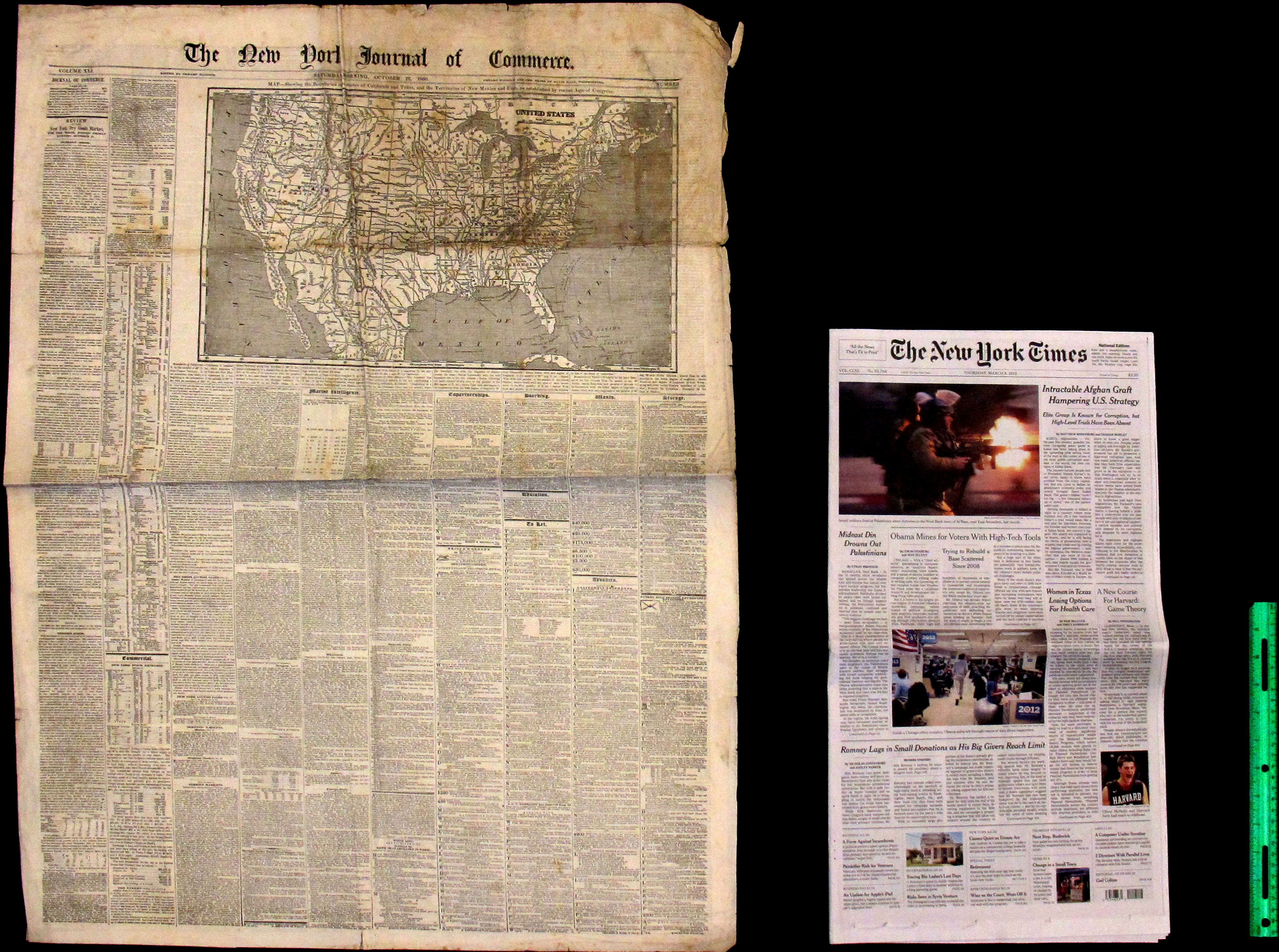Antebellum Country Paper Compared with a Broadsheet from 2012