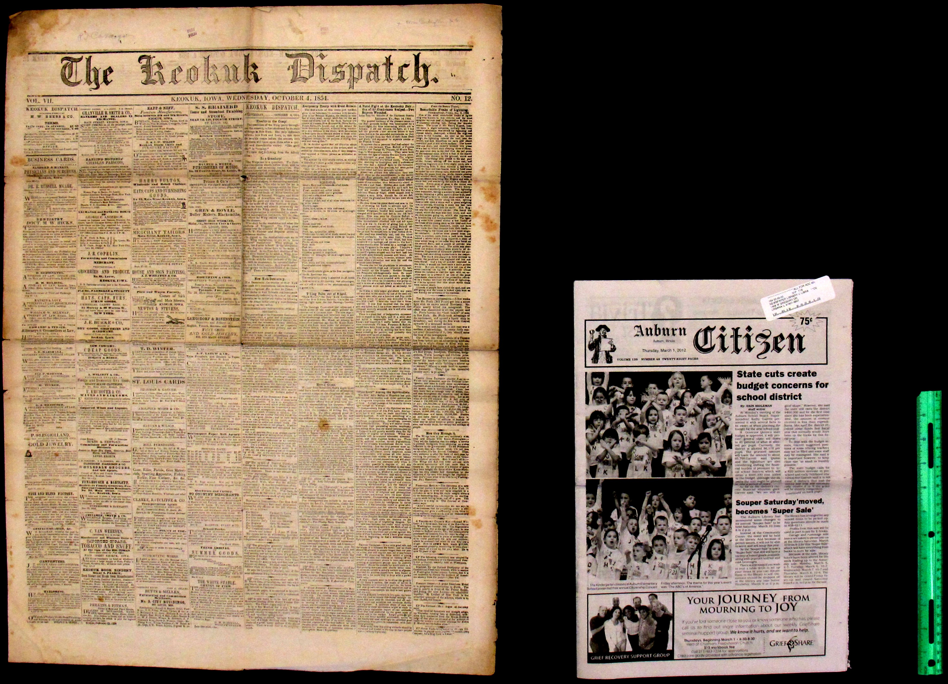 Antebellum Country Newspaper Compared With Country Newspaper from 2012