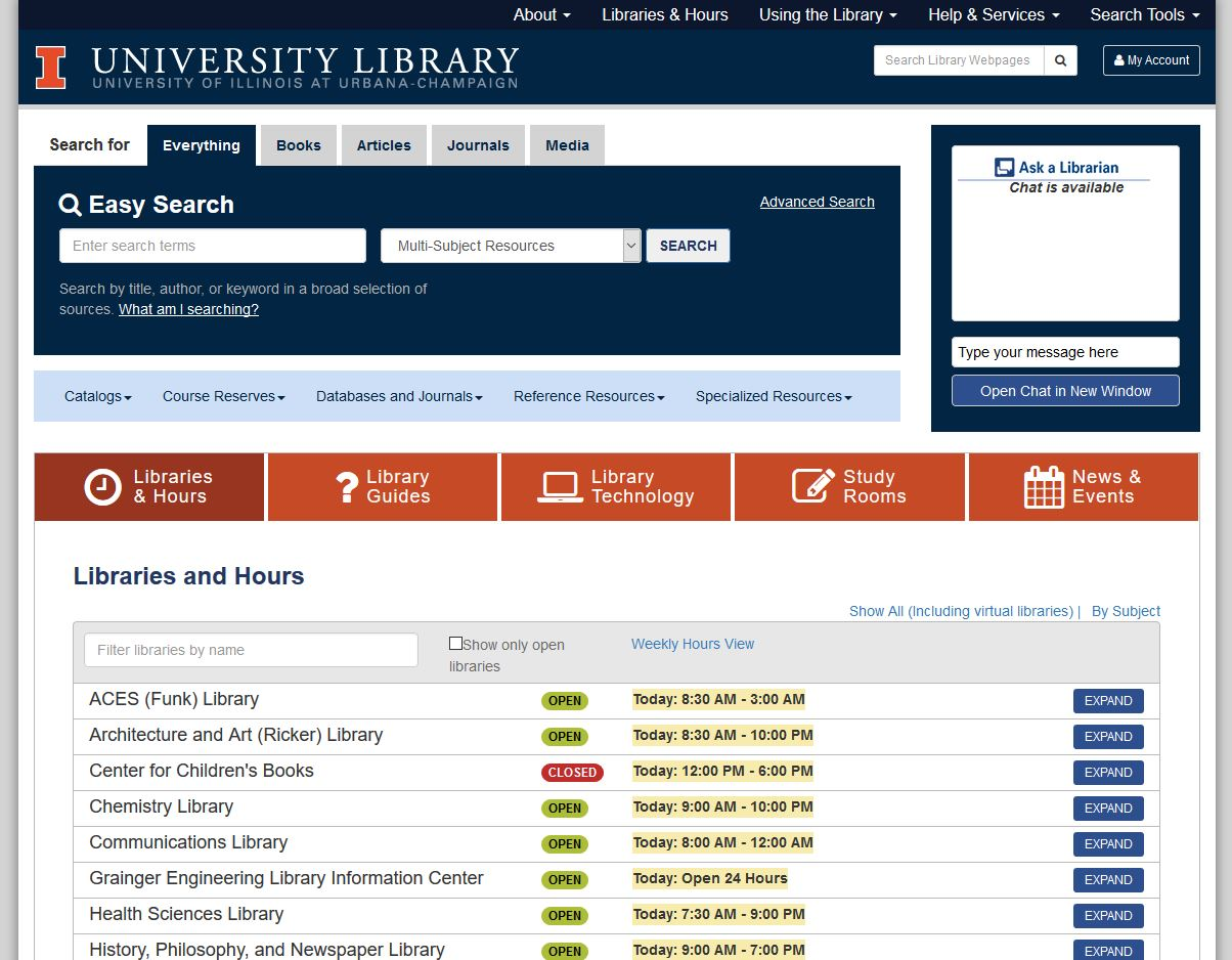 University of Illinois Library's Online Gateway