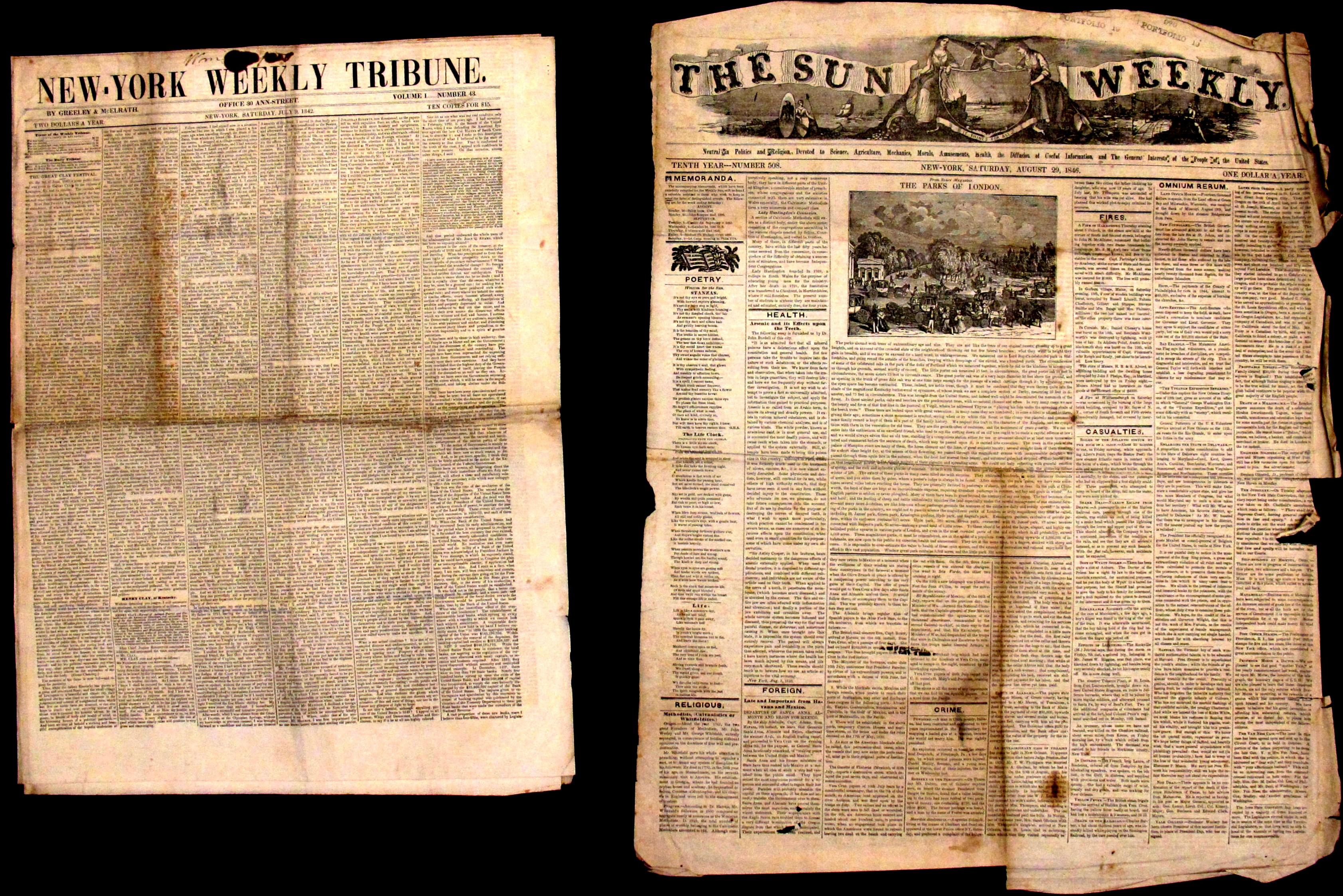 Two Antebellum Weekly Editions of Daily Newspapers