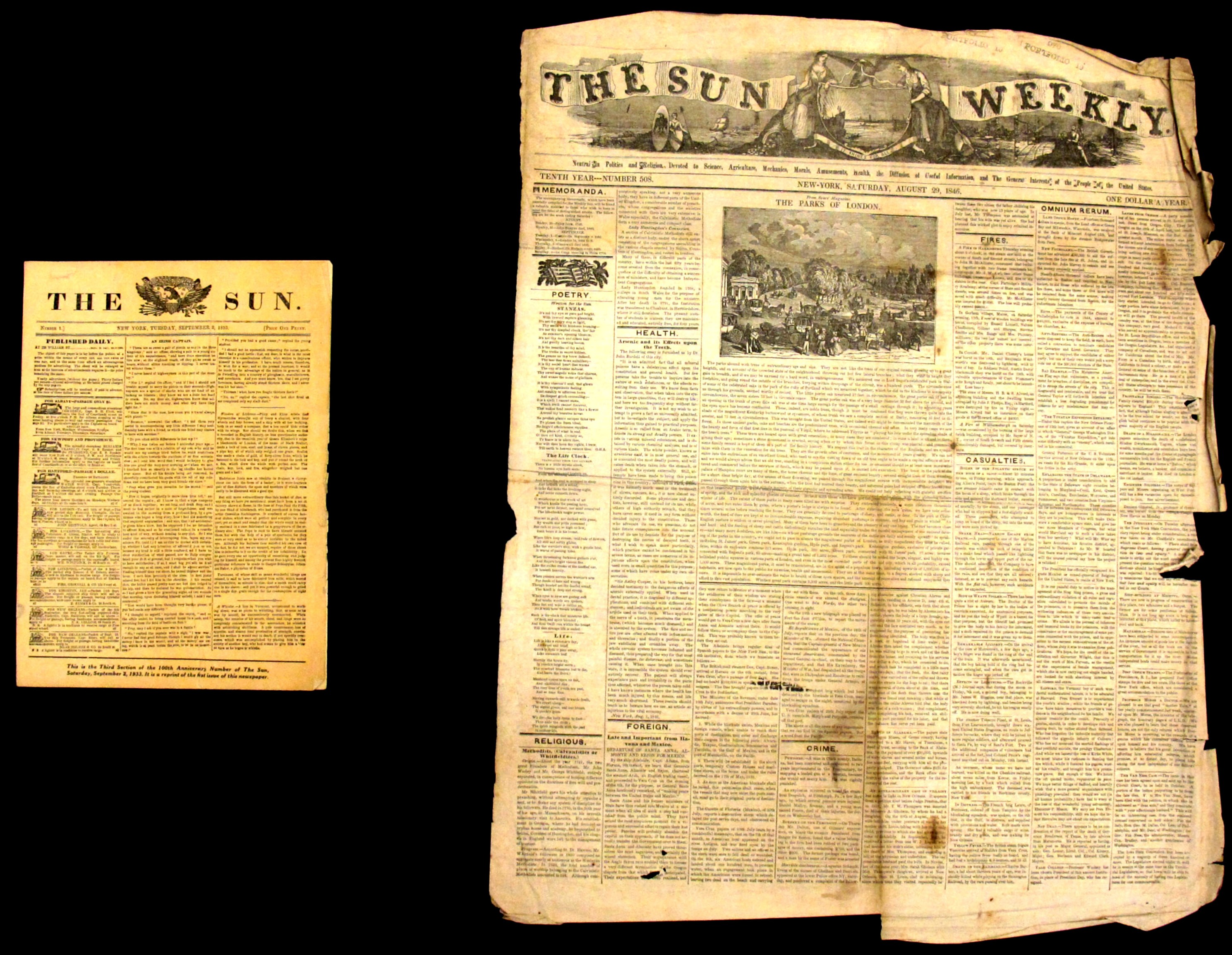 Two Issues of the New York Sun