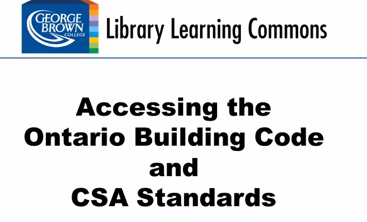 Video screenshot for accessing the building code and CSA standards
