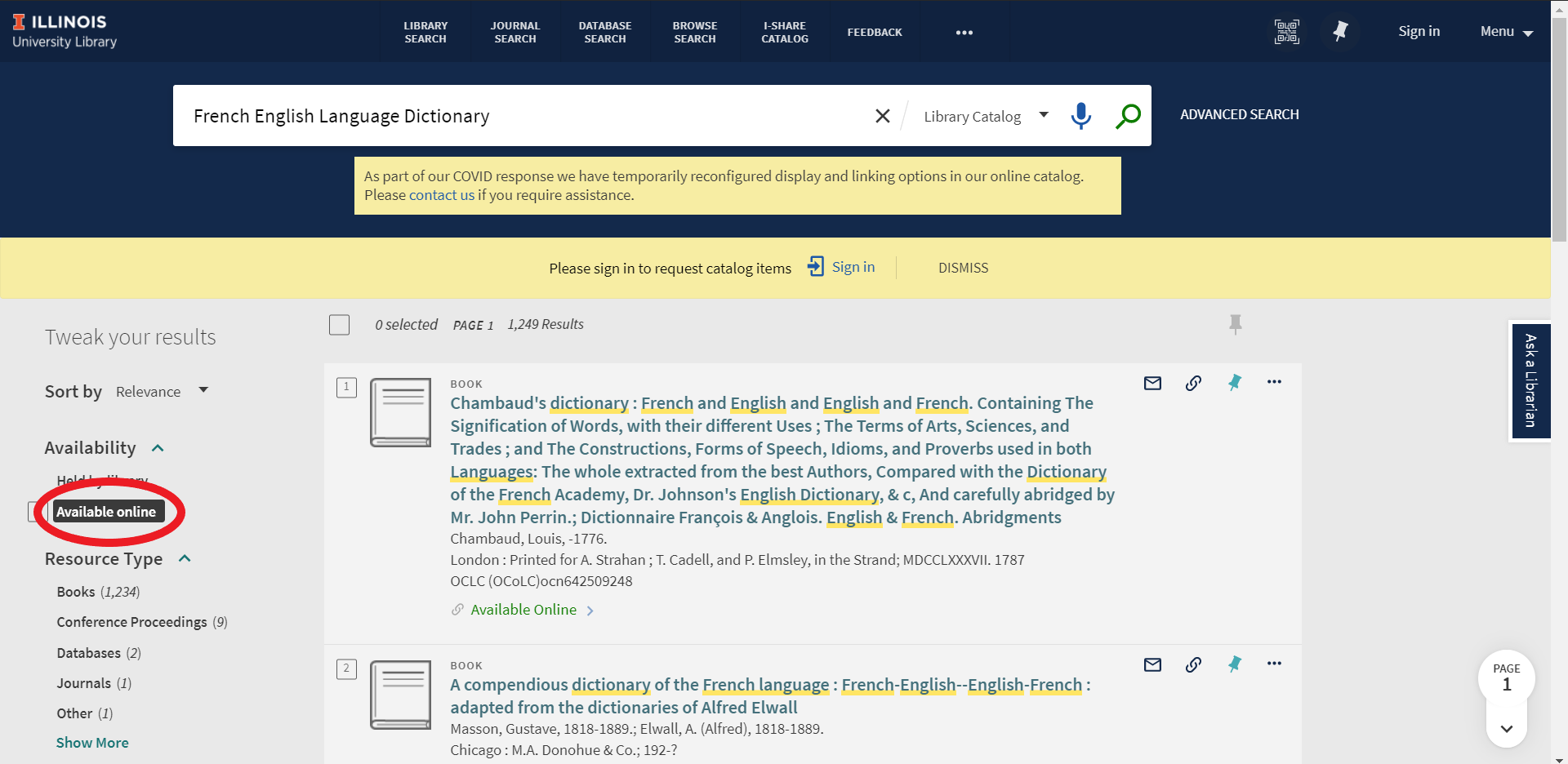 "A screenshot of searching ""French English Language Dictionary"" in the library catalog to show where ""Available Online"" is."