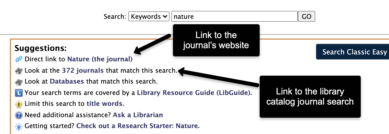image showing direct link to journal website (first link) and link to journal title search in the catalog (second link)