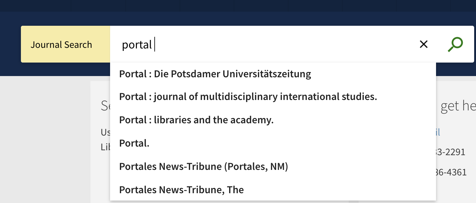 image of automatic suggestions when you start to type a journal title in the search box