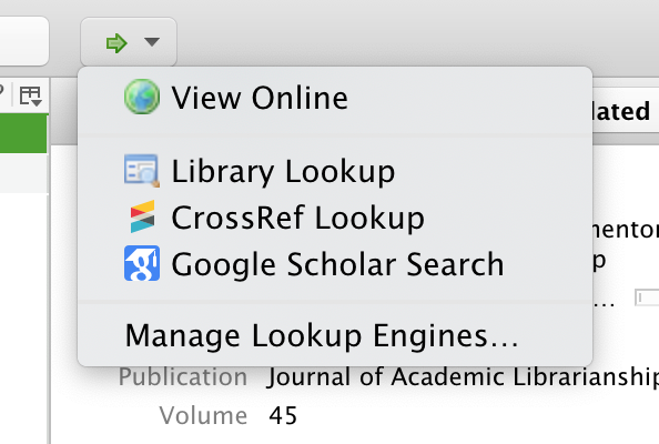 image of view online options in zotero