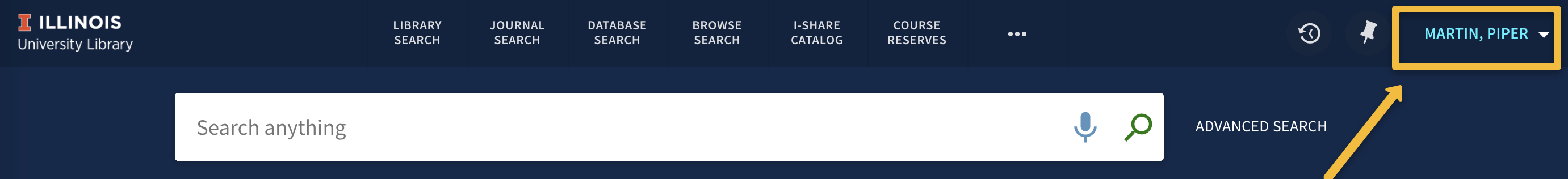 image of user name in upper right of screen once logged into your account